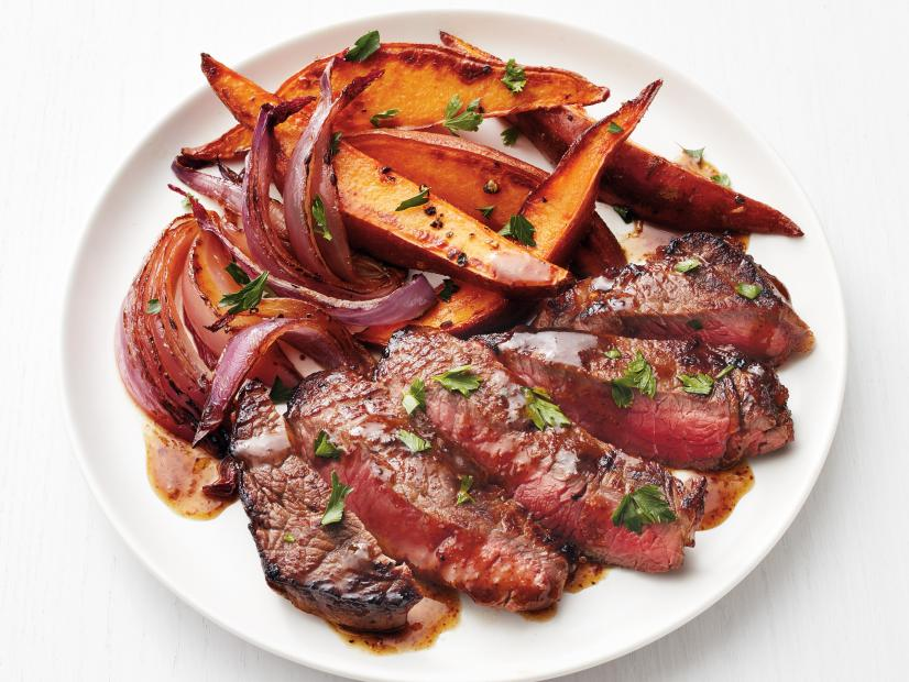 Guillotine Vodka - Steak with Beer Sauce and Sweet Potatoes